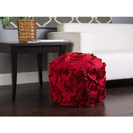 On Sale Floral Pouf in Red