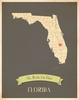 Florida My Roots State Map Art Print - Blue