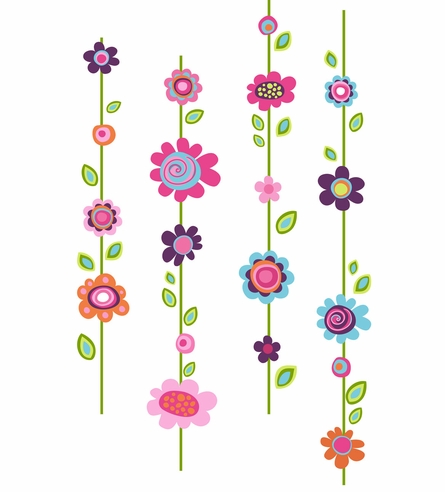 Flower Stripe Peel & Stick Wall Decals
