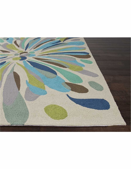 Flowerburst Rug in Light Gray