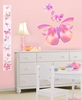 Fluttering Butterfly Peel and Stick Growth Chart Wall Mural in Springtime Pink