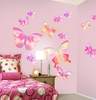 Fluttering Butterfly Peel and Stick Wall Mural in Springtime Pink