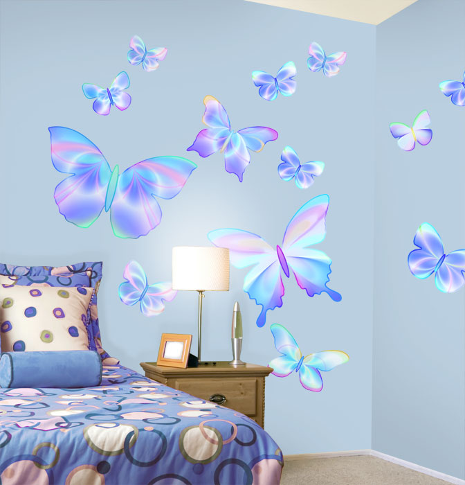 Fluttering Butterfly Peel And Stick Wall Mural In