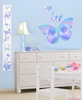 Fluttering Butterfly Pre-Pasted Growth Chart Wall Mural in Summertime Blue