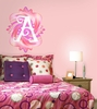 Fluttering Monogram Peel and Stick Wall Mural in Springtime Pink