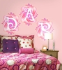 Fluttering Monogram Pre-Pasted Wall Mural in Springtime Pink