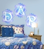 Fluttering Monogram Pre-Pasted Wall Mural in Summertime Blue