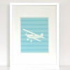 Flyin Retro Airplane with Stripes Art Print