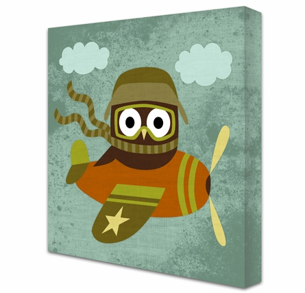 Flying Ace Owl Canvas Reproduction