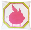 Flying Piggy Pink Throw Pillow