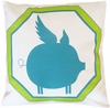 Flying Piggy Teal Throw Pillow