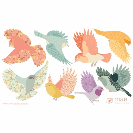Flying Twitters Girly Fabric Wall Decals