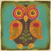 Folklore Owl - Orange Canvas Wall Art