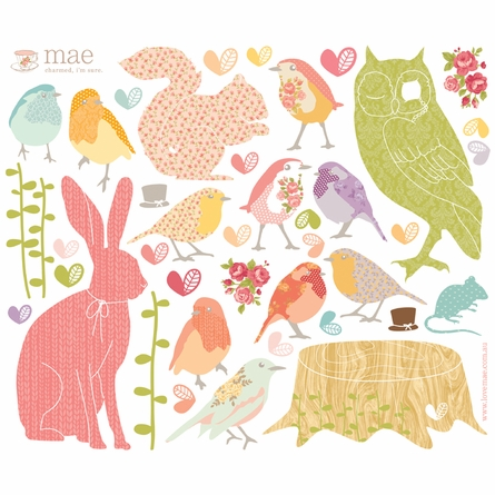Forest Critters Girly Fabric Wall Decals