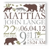 Forest Critters Personalized Canvas Birth Announcement