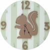 Forest Green Squirrel Wall Clock