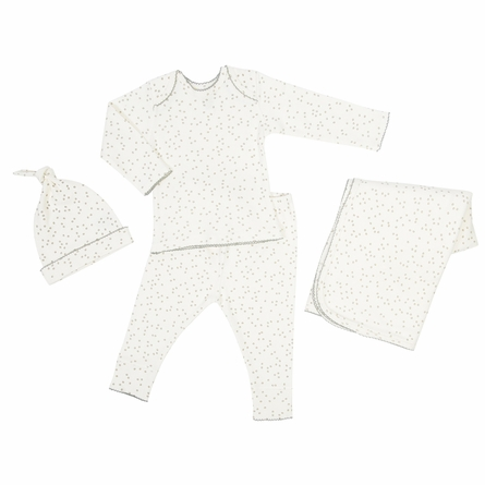 Four-Piece Layette Set in Pebble Grey