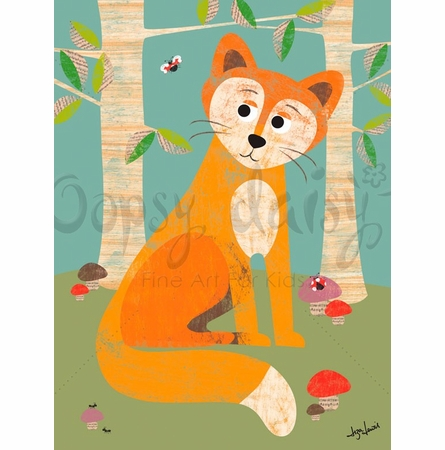 Fox in the Woods Canvas Wall Art