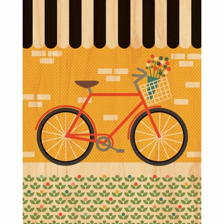 Framed Bike Art Print on Wood