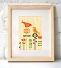 Framed Bird Love Art Print on Wood