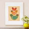 Framed Bird Trio Art Print on Wood