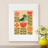 Framed Blue Bird Flora Art Print on Wood