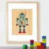 Framed Blue Robot Art Print on Wood