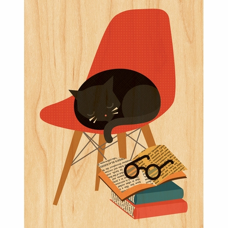 Framed Book Cat Art Print on Wood