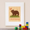 Framed California Bear Print on Wood