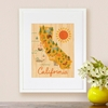 Framed California Map Print on Wood