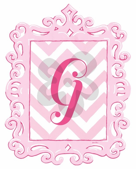 Pink Framed Chevron Monogram Wall Decal