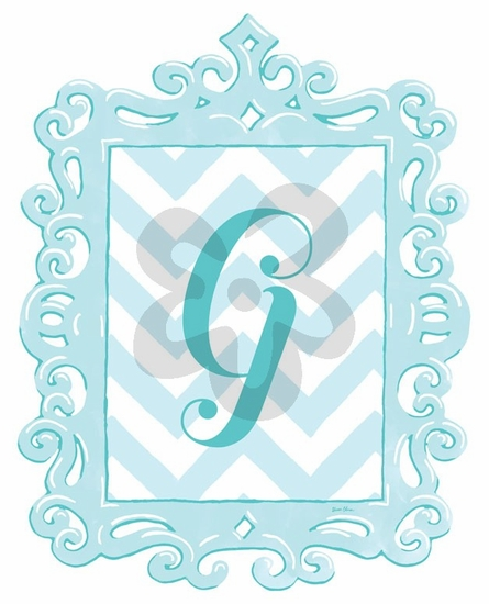 Turquoise Framed Chevron Monogram Wall Decal