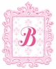 Pink Framed Damask Monogram Wall Decal