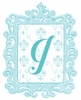 Turquoise Framed Damask Monogram Wall Decal