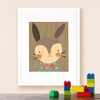 Framed Dapper Rabbit Print on Wood