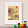 Framed Elephant Baby Art Print on Wood