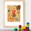 Framed Forest Parade Art Print on Wood