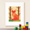 Framed Fox Baby Art Print on Wood
