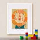 Framed Friendly Lion Print on Wood