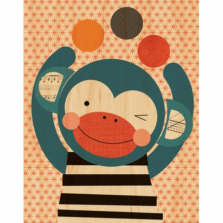 Framed Funny Monkey Print on Wood