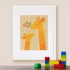 Framed Giraffe Baby Art Print on Wood
