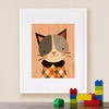 Framed Hip Cat Print on Wood