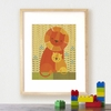 Framed Lion Baby Art Print on Wood