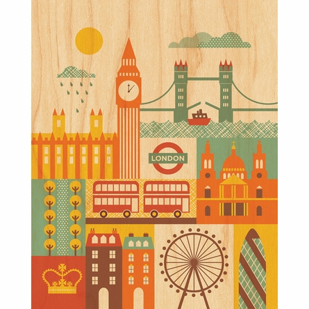 Framed London Art Print on Wood