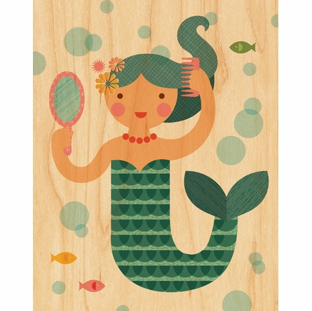 Framed Mermaid Art Print on Wood