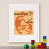 Framed Monkey Baby Art Print on Wood
