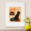 Framed Music Cat Art Print on Wood