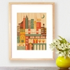Framed New York City Print on Wood