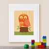 On Sale Framed Owl Baby Art Print on Wood