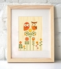 Framed Owl Love Art Print on Wood